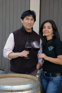 Winemakers Byron Kosuge and Evelyn Vidal