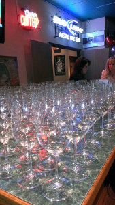 Riedel delivery system at the WineGuyMike Sparkling Wine Tasting Event