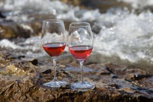 Rosé on the rocks, on the Clark Fork River in Missoula, Montana