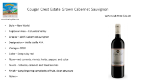 Cougar Crest Estate Grown Cabernet Sauvignon