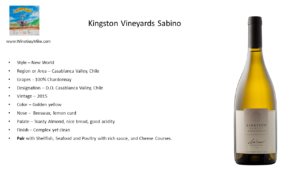 Kingston Vineyards 2015 Sabino Chardonnay