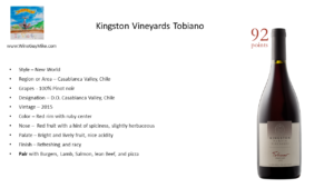 Kingston Vineyards 2015 Tobiano Pinot noir